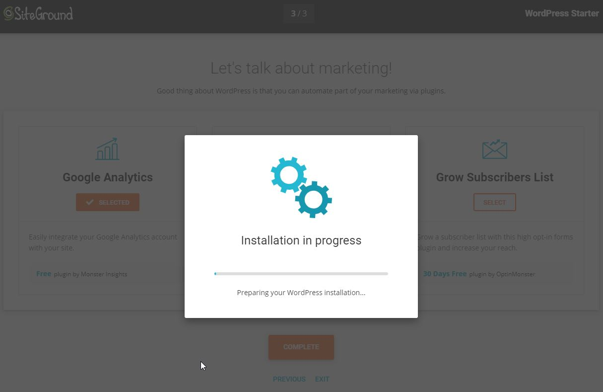 SiteGround Starter Wizard Plugin Installation