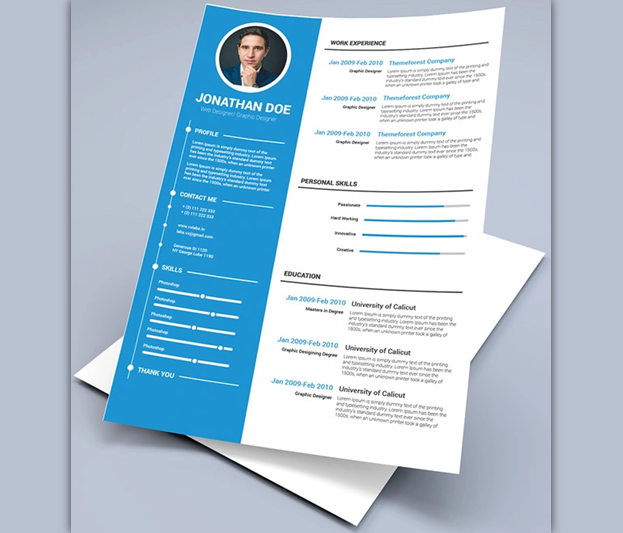 Blue Corporate Free Resume Templates