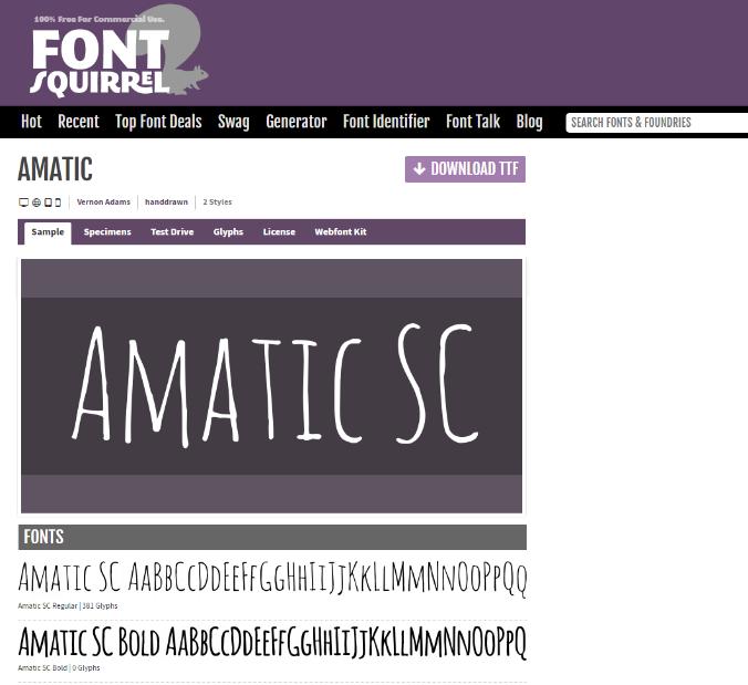Amatic handwriting fonts