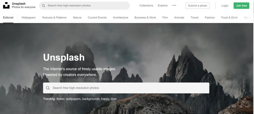 Unsplash webtopic