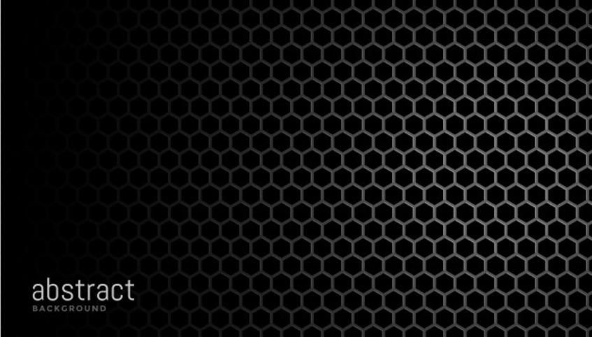 Black with hexagonal mesh