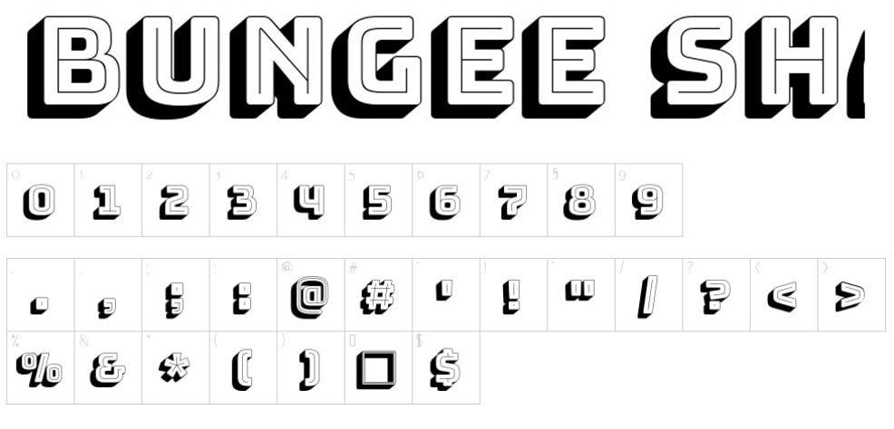 Bungee-Shade - Best Number Fonts